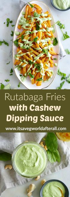 Baked Rutabaga Fries with Spinach Cashew Cream – a delicious roasted rutabaga recipe with a vegan cashew cream made with spinach, lemon, and garlic! An easy vegetable side for any meal! Veggie Snacks, Healthy Vegetable Recipes, Veggie Fries, Healthy Vegan Snacks, Delicious Vegan Recipes, Vegetarian Recipes, Snacks Recipes, Veggie Dishes, Vegan Food