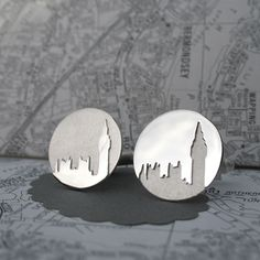 Big Ben cufflinks by hannah louise lamb || Hand-pierced silver cufflinks, with the distinctive skyline of Big Ben. Positive/negative design with matt and polished finishes. The cufflink mechanism is a classic silver hinged bar fixing, suitable for most shirts. 2cm diameter. £ 130
