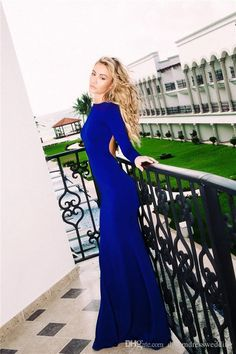 Prom Dress Canada Royal Blue Long Sleeve Prom Dresses 2016 Real Photo Open Back Illusion Back Floor Length Dress Evening Wear Casamento Prom Party Gowns Prom Dress Lace From Dreamdresswedding, $66.76  Dhgate.Com