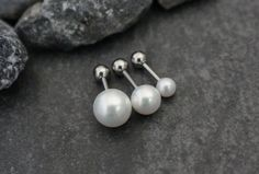 Pearl Barbell Piercing for Tragus, Helix, Cartilage at MyBodiArt Tragus Piercing Earrings, Labret Ring, Tragus Stud, Helix Earrings, Ear Gauges, Stud Earrings, Ear Peircings, Barbell Piercing, Ear Piercings