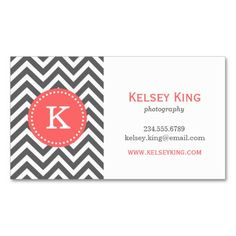 138 best monogram business cards images on pinterest monogram charcoal gray and coral chevron custom monogram business card colourmoves