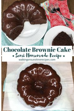 Chocolate Brownie Cake is one of the most decadent, rich chocolate desserts you will ever make AND it starts out with two boxed cake mixes from Walking on Sunshine Recipes. #chocolate #chocolatecake #cakemixrecipes #chocolateganache #delicious