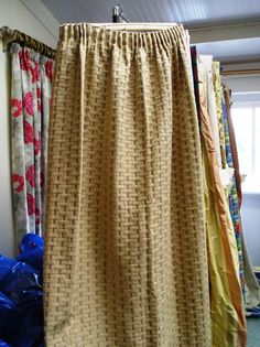 1340C Heavy Beige with Black Pattern Pencil Pleat Lined Curtains. :: Full Details - £55.00