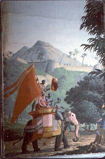 "Scenic Panel, ""The Hindoustan"", 1807 Wallpaper Stencil, Hand Painted Wallpaper, Wallpaper Panels, Wall Wallpaper, Floor Murals, Wall Murals, Scenic Wallpaper, Oriental Decor, Hanging Art"