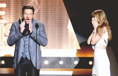 Mad that Taylor Swift won this, but I love Blake Shelton's face! :)
