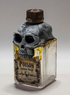 Skull Poison Bottle Vintage Pirate Sculpture by Andrea Falaschi