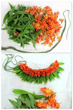 Hawaiian Party Orange Leis Luau Flower Tropical by MyIslandleis