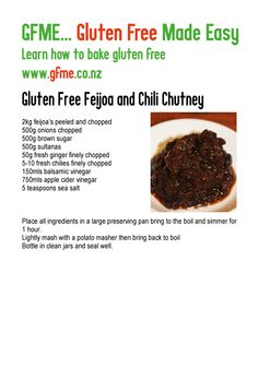 Gluten Free Feijoa and Chili Chutney. www.gfme.co.nz