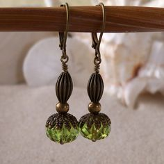 Peridot Green and Antique Brass Earrings by mompotter on Etsy