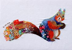Kimika Hara - squirrel, love the bits of fabric with the stitches