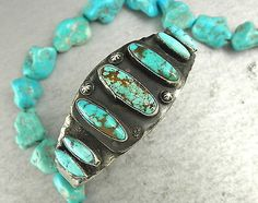 Old Pawn Blue Royston Spiderweb Turquoise Cuff Bracelet