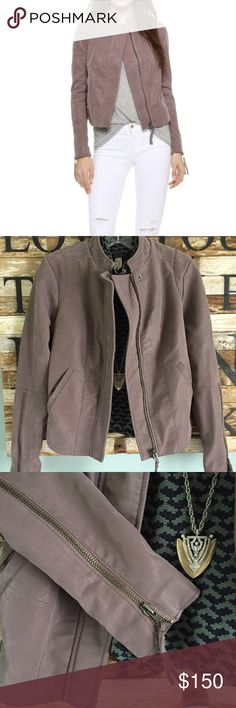 "NEW Free People cropped Moto Jacket Faux leather cropped silhouette Moto jacket that is simply fabulous! Stunning ""Dusk"" color that is a great neutral. Measures 21 1/2 inches from shoulder to bottom. Zippered sleeves from elbow to cuff to accommodate thick under layers. Smoke free home. Make this your Fall go to jacket!🍂 Free People Jackets & Coats"