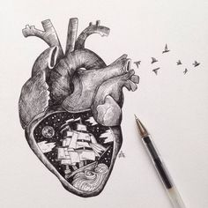 With tiny, precise pen strokes and careful cross-hatching, Italian artist Alfred Basha captures the complexity of natural life. His drawings interweave ani Heart Pencil Drawing, Pencil Drawings, Heart Drawings, Pen Illustration, Ink Illustrations, Alfred Basha, Arte Black, Geniale Tattoos, Cross Hatching