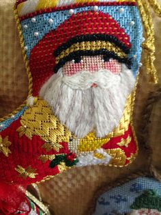 Best Party of the Year! needlepoint santa stocking