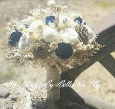 Navy Blue Sola Bouquet Sola Flowers Blue Ivory by WeddingsByBillie