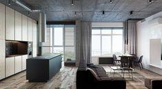 3 Бетонные лофты с широкими планами Открытая планировка этажей