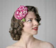 Pink Fascinator Hat Floral Headpiece 1950s Hair by ChatterBlossom