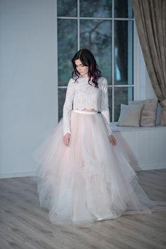Magnolia  whimsical wedding dress / crop top wedding dress /
