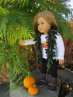 American Girl Doll Autumn Outfit: T-Shirt Scarf, Woodstock Long Sleeve T-shirt, Black Leggings, and Brown Boots with Pattern