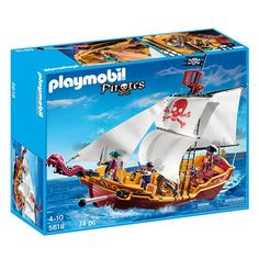 Playmobil Red Serpent Pirate Ship Playset - 5618, Multicolor