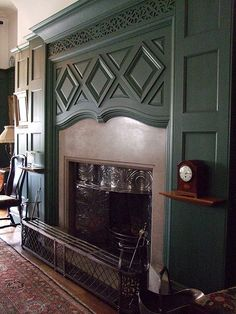 The Dining Room, Standen - The fireplace was designed by Webb
