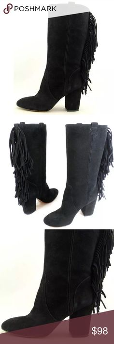 """Nine West Jayden black suede fringe boots Brand new with box. Mid calf and block heel. Shaft 12"""", circumference 14"""", heel height 3"""" Nine West Shoes Heeled Boots"""
