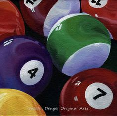 Original Billiard Painting on Canvas with Vivid Colors For Garage Club Room or near Pool Table Original Paintings, Original Art, Video Game Rooms, Man Cave Bar, Game Room Decor, Thing 1, Paint Party, Game Art, Vivid Colors