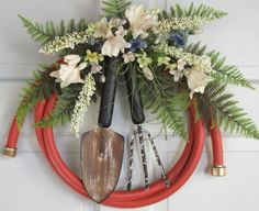 Country Primitive Garden hose wreath decorated by nyflowerchic