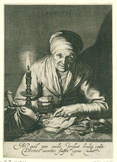 Cornelis Bloemaert (II)   Gierigheid, Cornelis Bloemaert (II), 1626   Een oude vrouw zit bij het licht van een kandelaar haar geld te tellen. Links op tafel een buidel, rechts een juwelendoosje. Met tweeregelig Latijns onderschrift.
