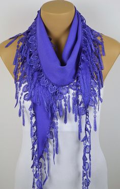 Heart Scarf Purple Scarf Fringe Scarf Cowl with Lace by fairywomen