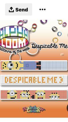 Hama Perler, Despicable Me, Rainbow Loom, Loom Beading, Bracelet Patterns, Fence, Arm, Knots, Arms