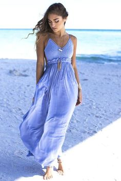 Denim blue maxi dress features a crochet bust, an open back, adjustable straps, and lining Material is Rayon