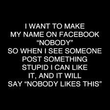 """I want to make my name on Facebook ""Nobody,"" so when I see someone post something stupid, I can like it and it will say ""Nobdy likes this."" ;)"