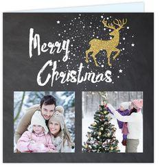 Hip foto collage krijtbord kerstkaart met ruimte voor twee eigen foto's of andere leuke invulling op de voorzijde! Met stoere zwarte spetters, goud look rendier en kerstboom - goud is geen echt folie!