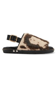 MARNI Fussbett leather-trimmed printed goat hair sandals. #marni #shoes #sandals