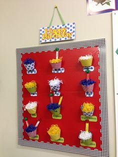Preschool classroom birthday display board using primary colors.