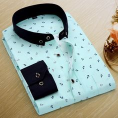 Men's Fashion Slim Long-Sleeve Casual Polyester Dress Shirt S-4XL 6 Colors-Loluxe