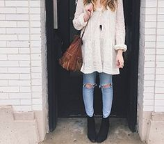white tunic + torn jeans