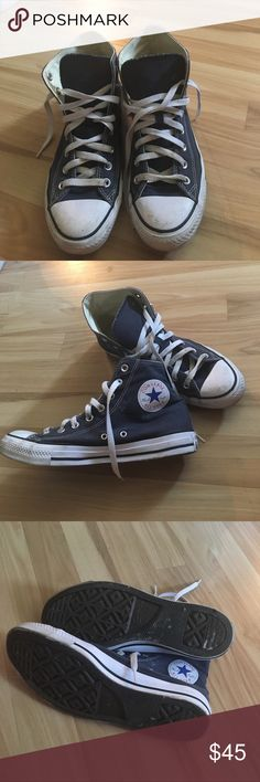Navy Blue High Top Converse Hey! I'm selling my barely worn navy blue (denim blue?) high top converse! Have probably only worn them twice so they are in outstanding condition! Let me know if you have questions! Women's 10, Men's 8! Converse Shoes Sneakers