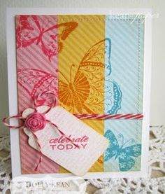 love that background stamping over the different colors of cardstock