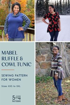 PDF sewing pattern for the women's Mabel Ruffle and Cowl Tunic. Tunic Sewing Patterns, Plus Size Sewing Patterns, Coat Pattern Sewing, Tunic Pattern, Coat Patterns, Clothing Patterns, Fall Sewing, Modern Outfits, Diy Clothing