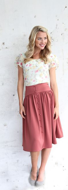 Cute As A Button Skirt - $44.99 : Mikarose Boutique. Oh my, I love the design so so much! Wish it came in other colors, too, like a dull steely blue.