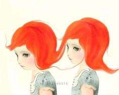 Red Haired Twins  Digital Painting Art Print 10x8 door littleghost, $17.00
