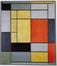 Piet Mondriaan - Compositie 1 (1920)   Guggenheim (New York) De Stijl