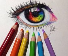 Colored pencil rainbow eye drawing, how neat! Realistic Eye Drawing, Drawing Eyes, Drawing Sketches, Pencil Drawings, Painting & Drawing, Art Drawings, Drawings Of Eyes, Crying Eye Drawing, Cool Drawings Tumblr