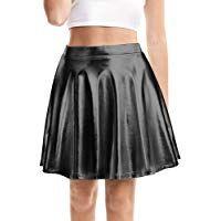 SATINIOR Womens Shiny Skirt Metallic Flared Pleated Skater Skirt with High Elastic Waistband