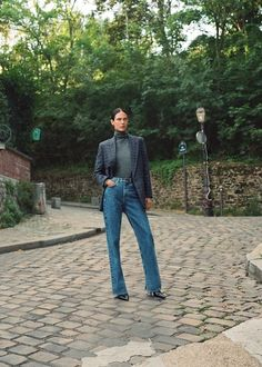 Denim Blazer, Long Blazer, Leather Blazer, Tomboy Fashion, Denim Fashion, Streetwear Fashion, Faux Fur Biker Jacket, Tweed Jacket, Fabric Print Design