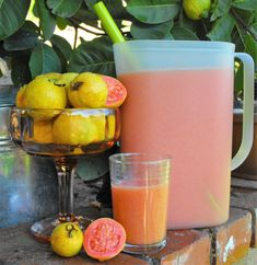 How to Make Fresh Pink Guava Nectar. If you are from Mexico or your parents are from south of border it is a good possibility that you have a guava tree in the yard. Get the tips for making your own juice and enjoy the fruit. Refreshing and tasty. Recipes With Guava Fruit, Guava Fruit Juice, Guava Drink, Pineapple Guava, Pink Guava, Fruit Juice Recipes, Fruit Drinks, Pink, Aguas Frescas