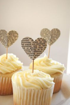 Vintage Book Page Heart Cupcake Picks by thePathLessTraveled
