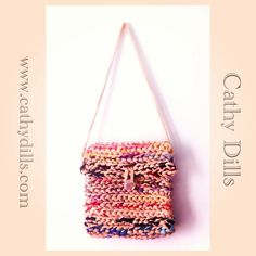 """Trapillo & tulle crochet handbag"" by Cathy Dills."